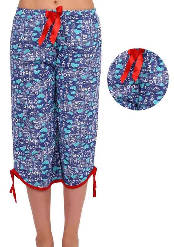 RİNDA - Love Yazılı Kalpli Kapri Pijama Altı 008 | İndigo