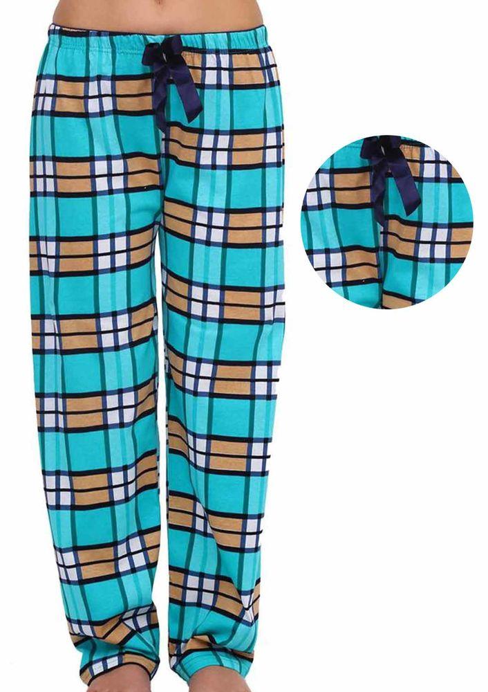 Boru Paçalı Kareli Pijama Altı 095   Turkuaz