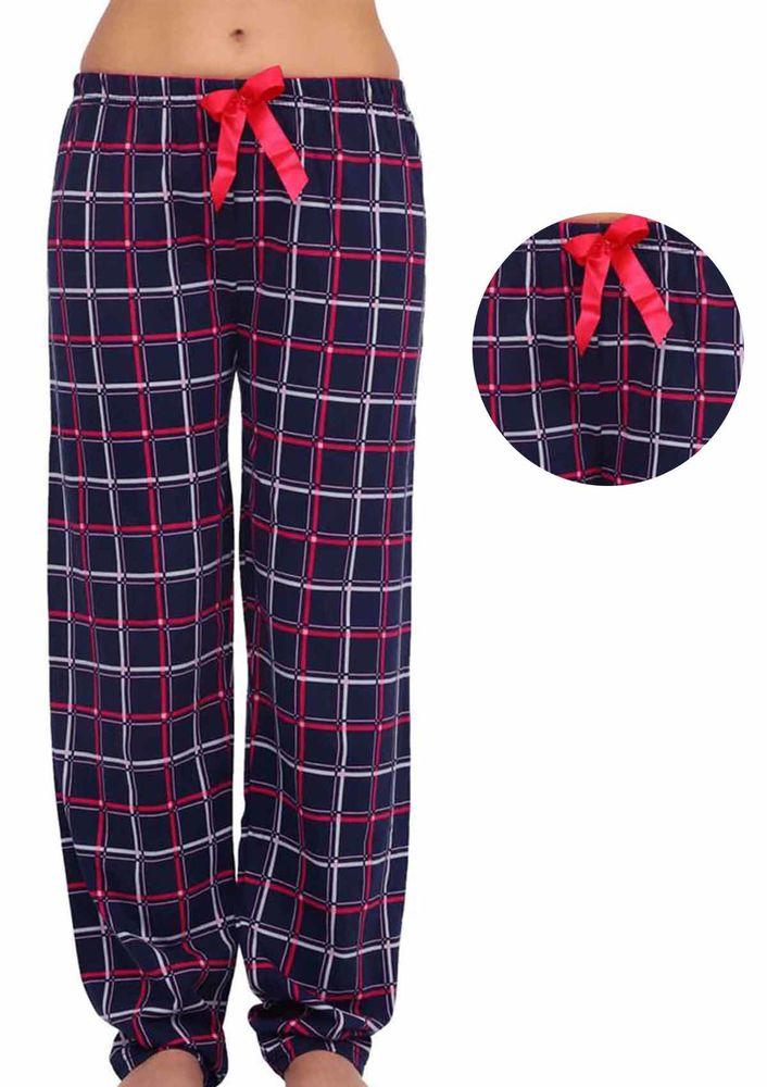 Beli Lastikli Kurdeleli Kareli Pijama Altı 090   Lacivert Pembe