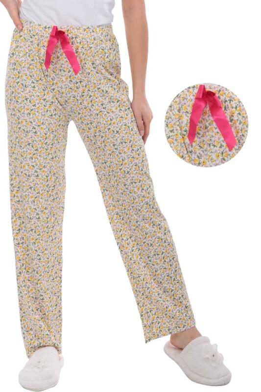 RİNDA - Çiçek Baskılı Kadın Pijama Altı 910 | Sarı
