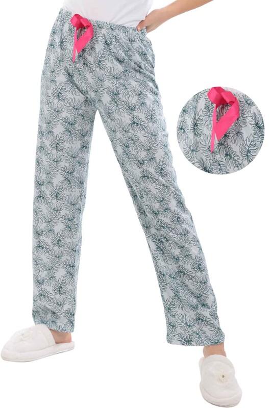 RİNDA - Yaprak Baskılı Kadın Pijama Altı | Beyaz