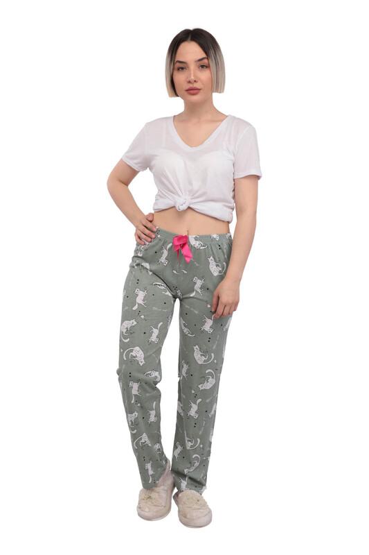 RİNDA - Kedi Desenli Kadın Pijama Altı | Su Yeşili