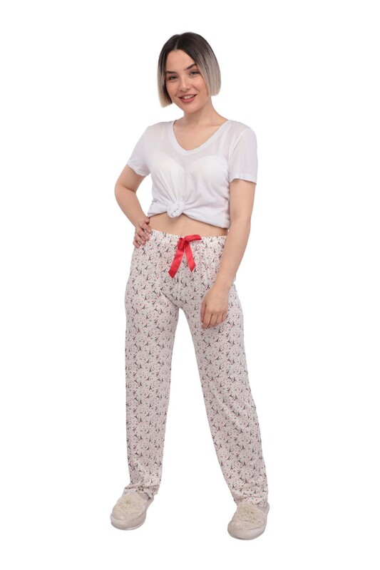 RİNDA - Eyfel Kulesi Desenli Kadın Pijama Altı | Kırmızı