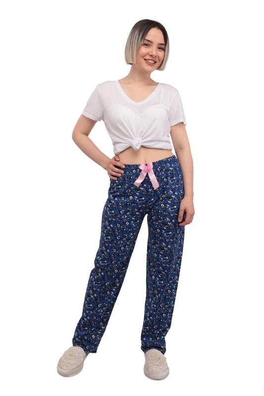 RİNDA - Çiçek Desenli Kadın Pijama Altı | Mavi
