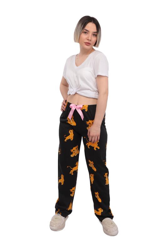 RİNDA - Aslan Desenli Kadın Pijama Altı | Siyah