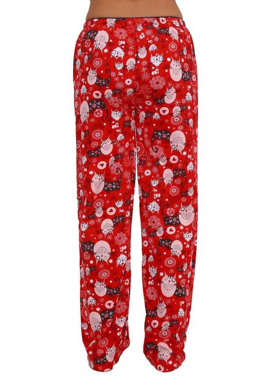 Boru Paçalı Baykuşlu Pijama Altı 088 | Kırmızı - Thumbnail