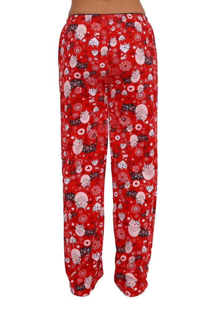 Boru Paçalı Baykuşlu Pijama Altı 088 | Kırmızı