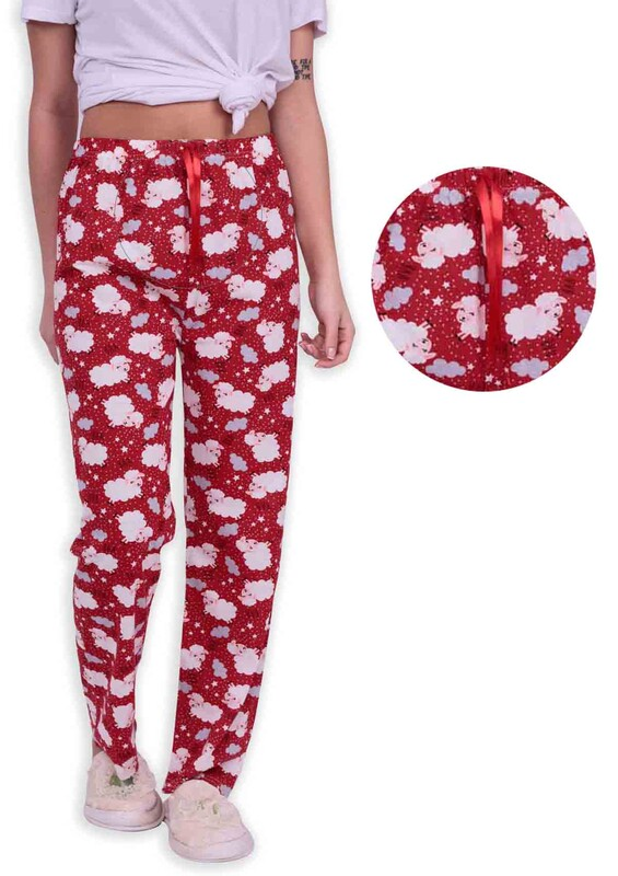 SİMİSSO - Kuzu Desenli Kadın Pijama Altı   Kırmızı