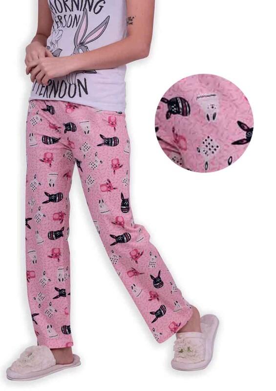 SİMİSSO - Tavşan Baskılı Kadın Pijama Altı 002 | Pembe