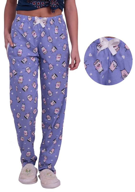 SİMİSSO - Baskılı Kadın Pijama Altı | Mor