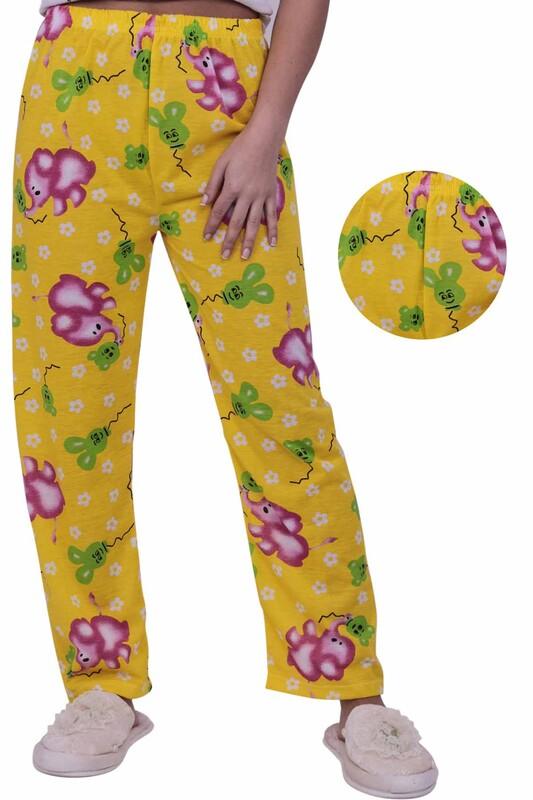 SİMİSSO - Fil Desenli Kadın Pijama Altı | Sarı
