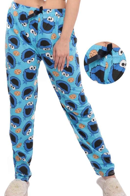 SİMİSSO - Kurabiye Canavarı Desenli Kadın Pijama Altı | Mavi