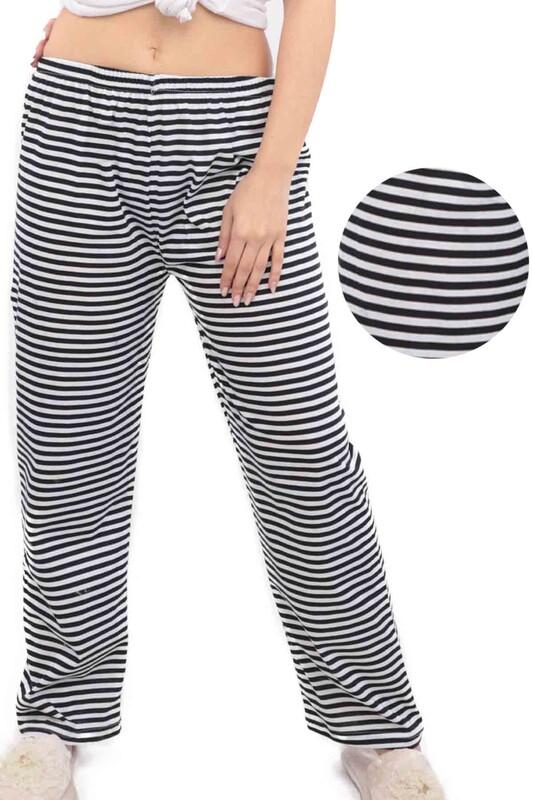 SİMİSSO - Çizgi Desenli Kadın Pijama Altı | Siyah