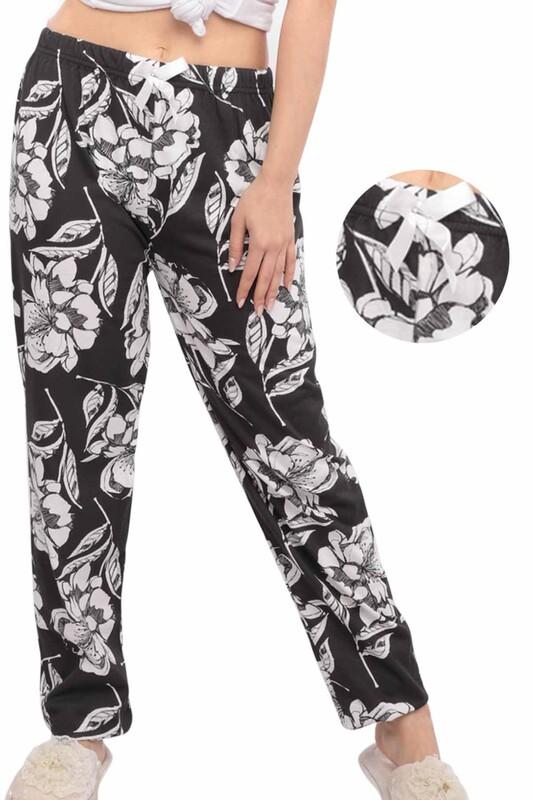 SİMİSSO - Çiçek Desenli Kadın Pijama Altı | Siyah
