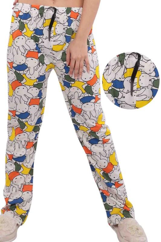 SİMİSSO - Tavşan Desenli Kadın Pijama Altı | Beyaz