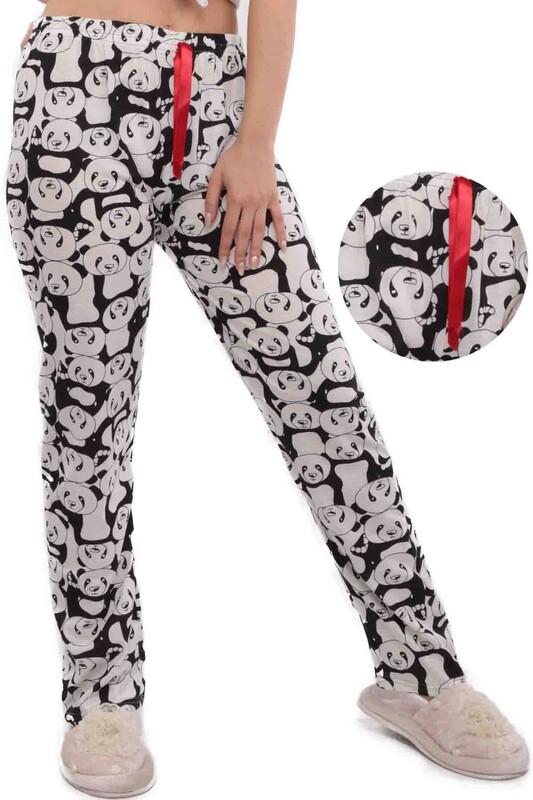SİMİSSO - Panda Desenli Kadın Pijama Altı | Siyah