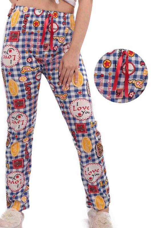 SİMİSSO - Desenli Kadın Pijama Altı | Mavi