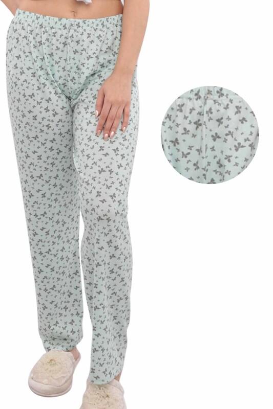 SİMİSSO - Kelebek Desenli Kadın Pijama Altı | Su Yeşili
