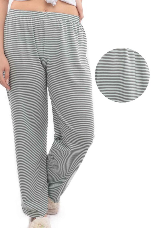 SİMİSSO - Çizgi Desenli Kadın Pijama Altı | Su Yeşili