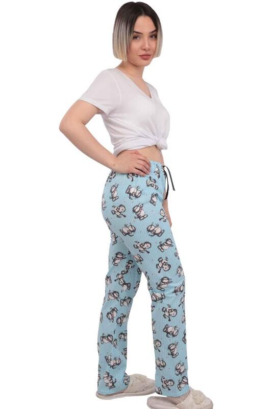 SİMİSSO - Kedi Desenli Kadın Pijama Altı | Mavi