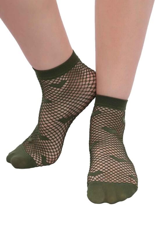 DESİMO - Desimo Kalp Desenli File Kadın Soket Çorap | Yeşil