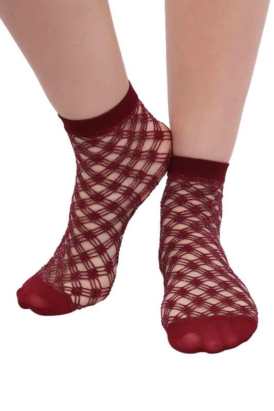 DESİMO - Desimo Simli File Kadın Soket Çorap | Bordo