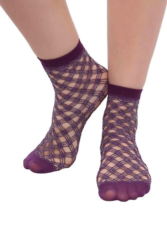DESİMO - Desimo Simli File Kadın Soket Çorap | Mor