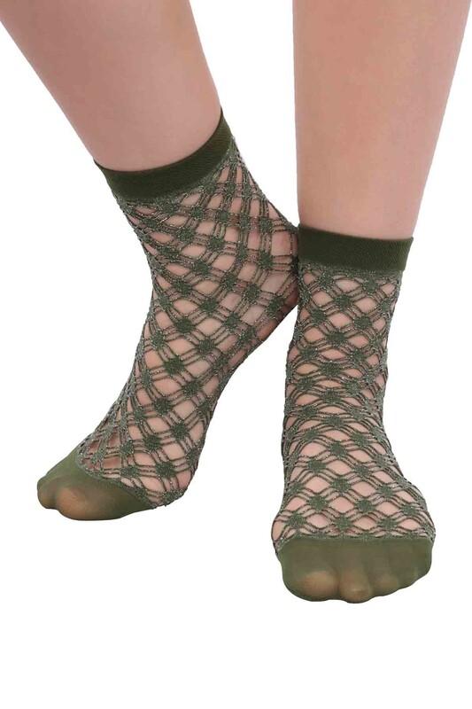 DESİMO - Desimo Simli File Kadın Soket Çorap | Yeşil