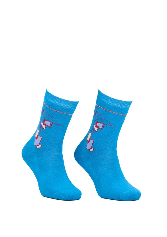 Modemo - Geometrik Desenli Havlu Çorap 2050 | Mavi
