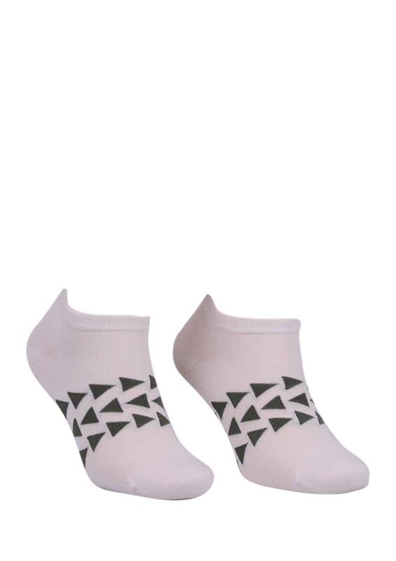 PAKTAŞ - Paktaş Üçgen Desenli Patik Çorap 2601   Krem