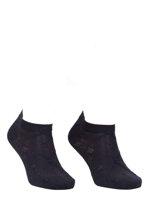 PAKTAŞ - Paktaş Örgü Desenli Patik Çorap 2599   Siyah
