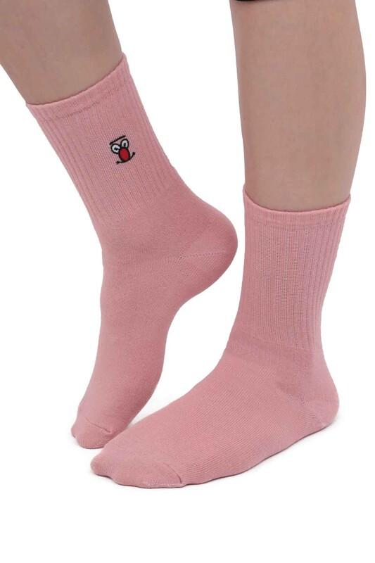 SAHAB - Desenli Kadın Soket Çorap 10770   Pembe