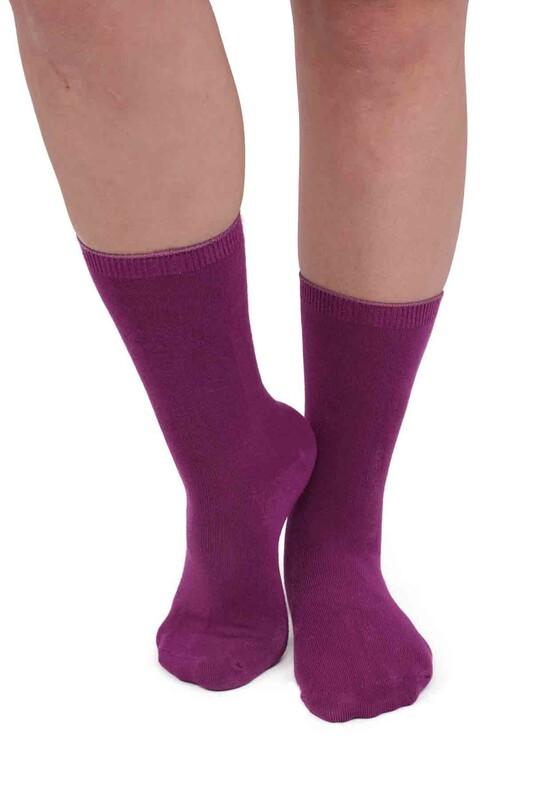 SAHAB - Sahab Kadın Bambu Soket Çorap 8888   Mürdüm