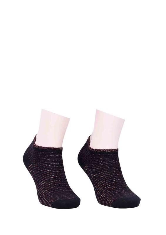 SARA DONNA - Sara Çizgili Gri Donna Soket Çorap 500 | Kahverengi