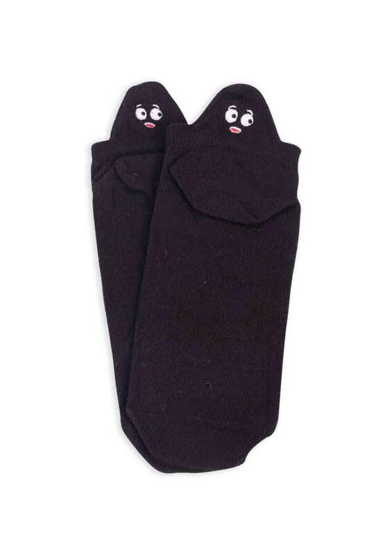 SİMİSSO - Nakış Desenli Kadın Soket Çorap   Siyah