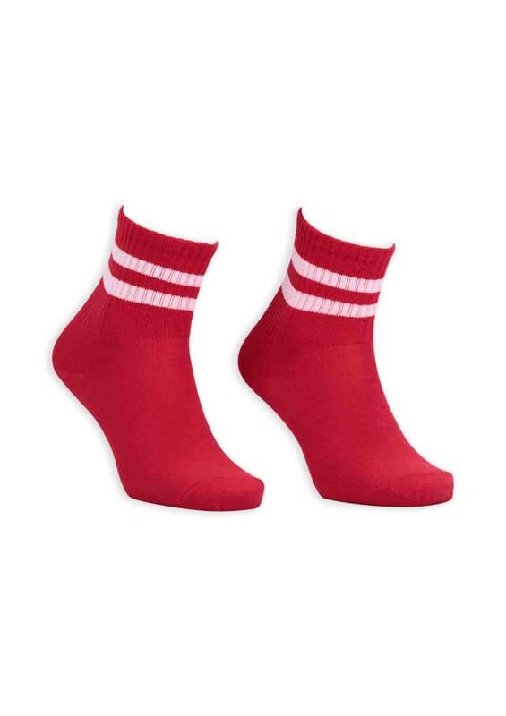 SİMİSSO - Pola Teenage Kadın Soket Çorap   Kırmızı