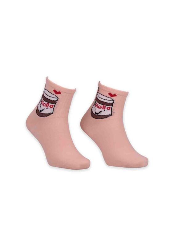 SİMİSSO - Nutella Desenli Bayan Soket Çorap   Yavruağzı