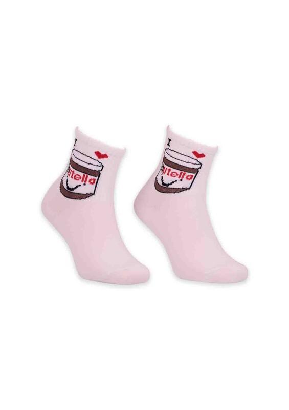 SİMİSSO - Nutella Desenli Bayan Soket Çorap | Beyaz
