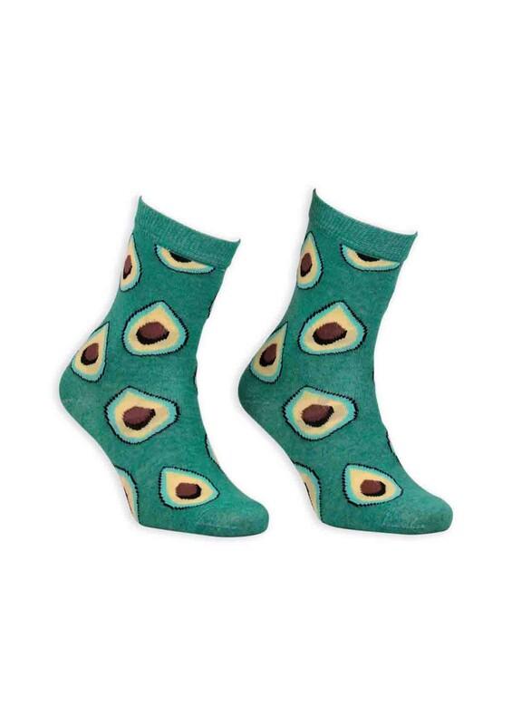SİMİSSO - Pola Teenage Ananas Desenli Kadın Soket Çorap   Yeşil