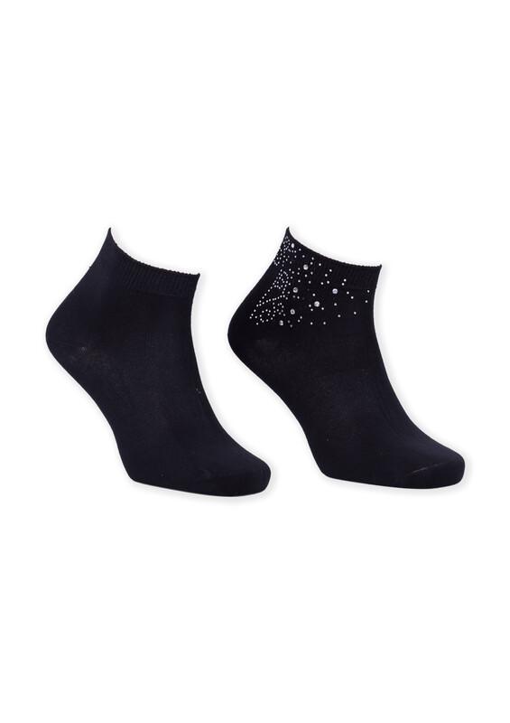 SİMİSSO - Bamboo Taşlı Kadın Patik Çorap 002 | Siyah