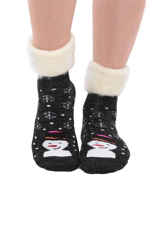 SİMİSSO - Kardan Adam Desenli Kadın Bot Çorap   Siyah
