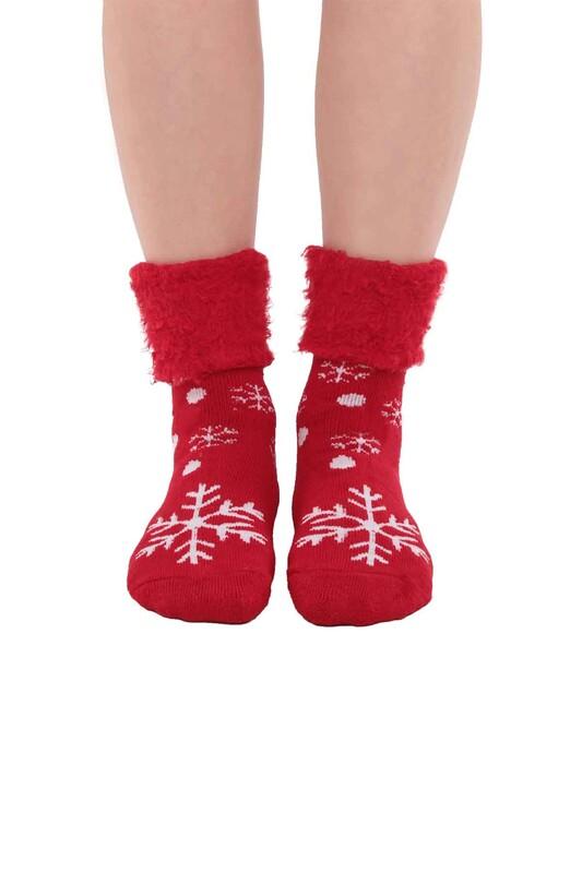 SİMİSSO - Kar Tanesi Desenli Kadın Bot Çorap | Kırmızı