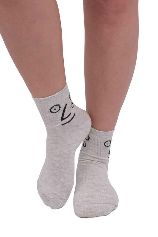 SİMİSSO - Fashion Emoji Desenli Kadın Soket Çorap 11400   Açık Gri