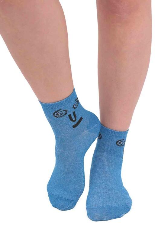 SİMİSSO - Fashion Emoji Desenli Kadın Soket Çorap 11401 | Mavi