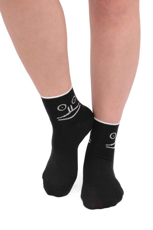 SİMİSSO - Fashion Emoji Desenli Kadın Soket Çorap 11401   Siyah
