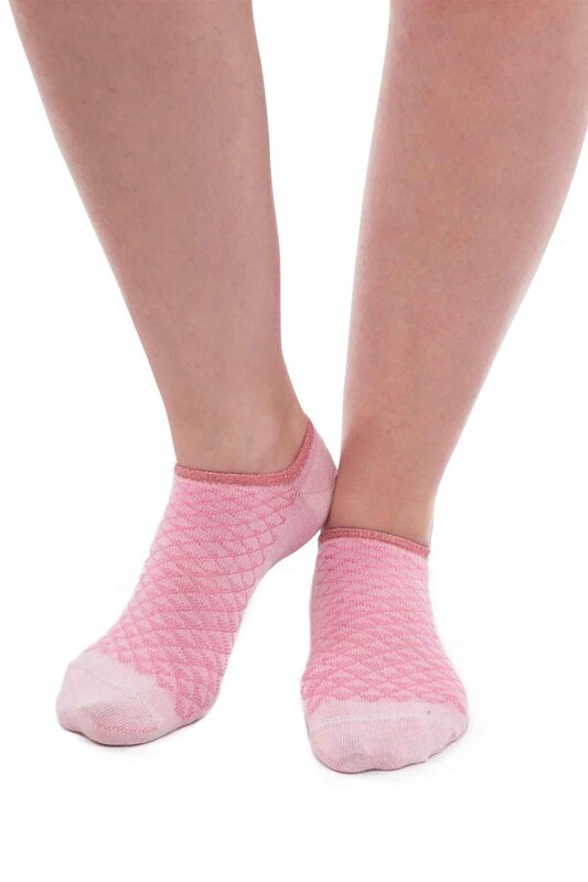 SİMİSSO - Bambu Kareli Kadın Sneakers Çorap | Pembe