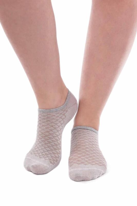 SİMİSSO - Bambu Kareli Kadın Sneakers Çorap | Taş