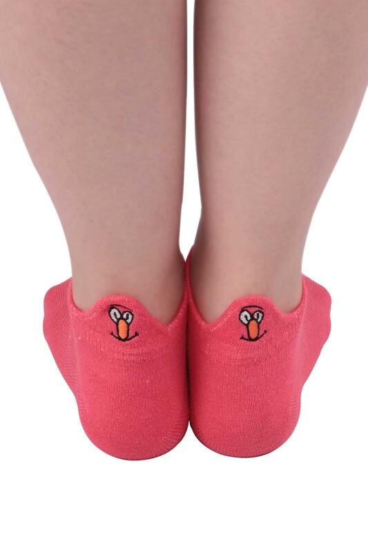 SİMİSSO - Nakış Desenli Kadın Soket Çorap | Koyu Pembe