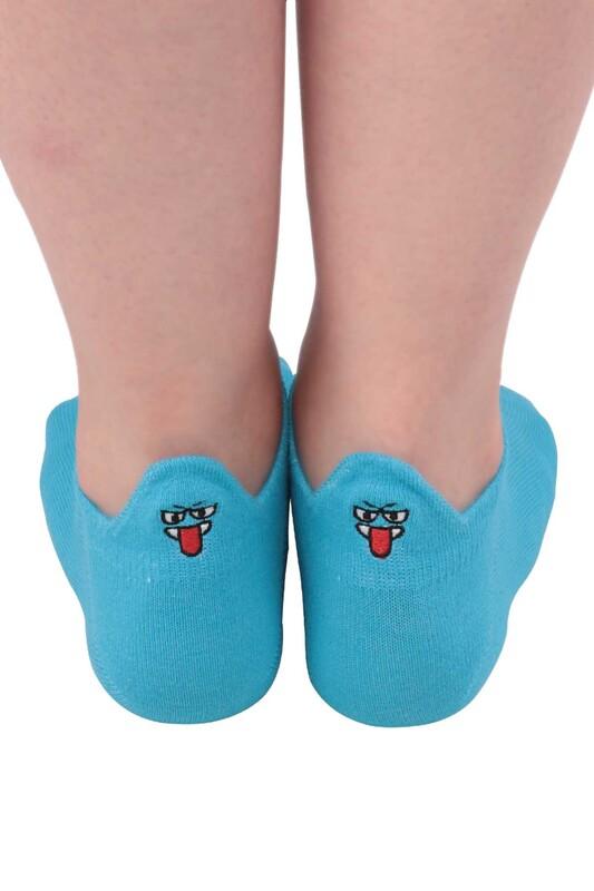 SİMİSSO - Nakış Desenli Kadın Soket Çorap | Mavi