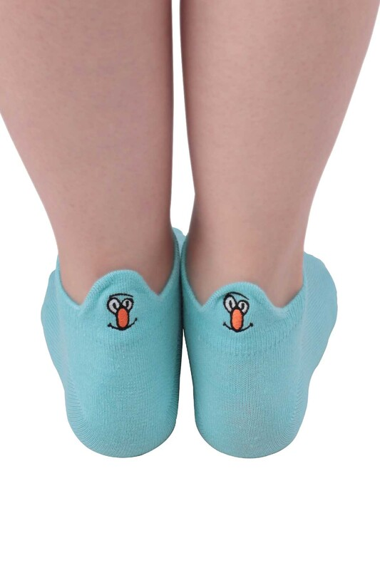 SİMİSSO - Nakış Desenli Kadın Soket Çorap | Mint
